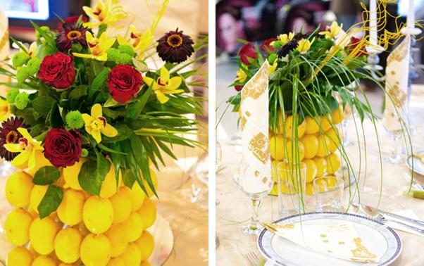 Aranjament de nunta cu lamai si trandafiri