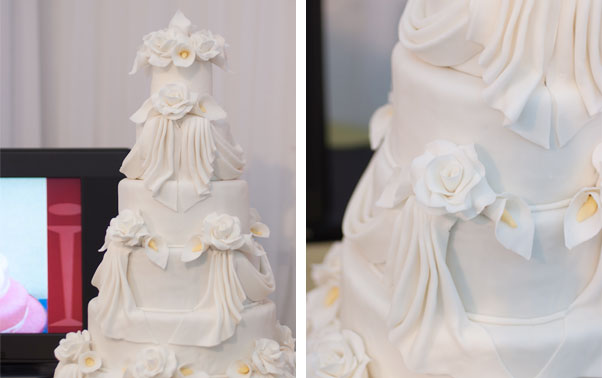 Tort alb cu cale din pasta de zahar